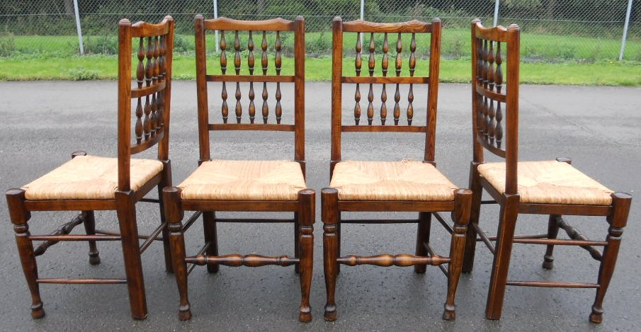 Set Of Four Lancashire Style Elm Spindle Back Rush Seat